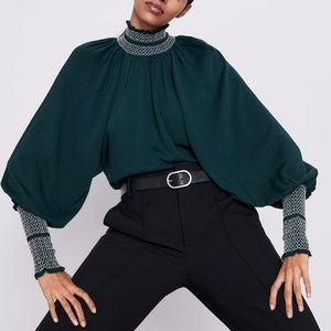 zara blouse puffer sleeves green victorian new M